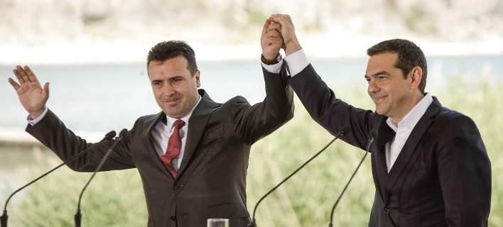 Γεύμα Τσίπρα και Ζάεφ στο Οτέσεβο της ΠΓΔΜ μετά την υπογραφή της συμφωνίας